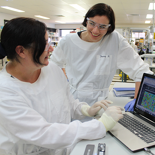 Dr Joanne Macdonald (at right) with a member of her research team.
