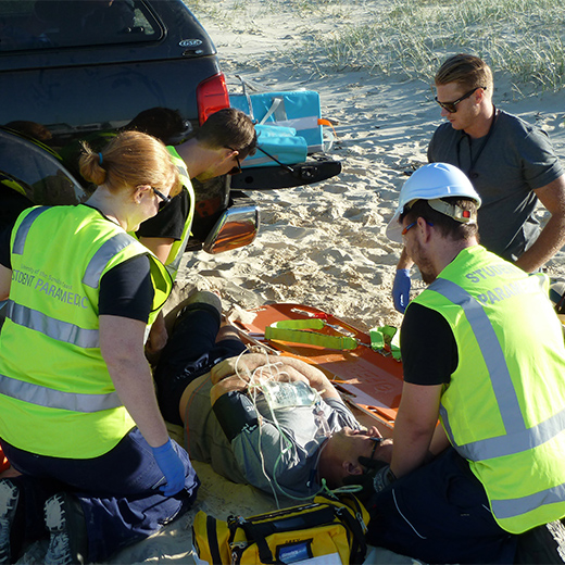 USC paramedic students training on Fraser Island