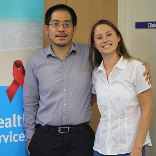 Sexual Health Physician Dr Kuong Taing (left) and USC PhD student Noa Ziklo at the Sunshine Coast Sexual Health and HIV Service clinic.