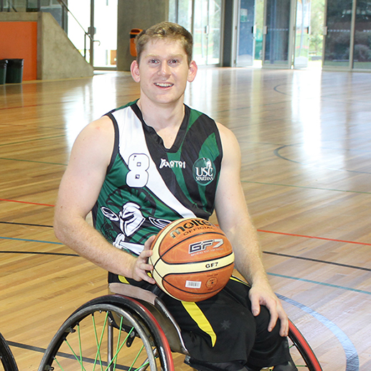 Talented wheelchair basketballer Steven Elliott has received one of the University of the Sunshine Coast's first para-athlete scholarships