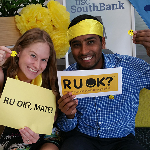 USC SouthBank Student Support Advisor Kim Jennings and Support Officer Naresh Kumar