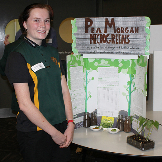 James Nash State High School Year 11 student Shannon Soutter with her project.