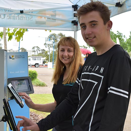 Year 12 Xavier College student Anthony Ross with his mother Donna Ross attending USC Fraser Coast's Open Day.