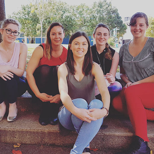 USC Lecturer Dr Karen Sutherland (second from left) with four of the students travelling to Vietnam, (L to R) Cassie Macmillan, Emma White, Maddy Major and Tayler Gale.