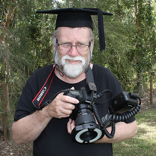 Wildlife photographer Gerard Mills on campus.