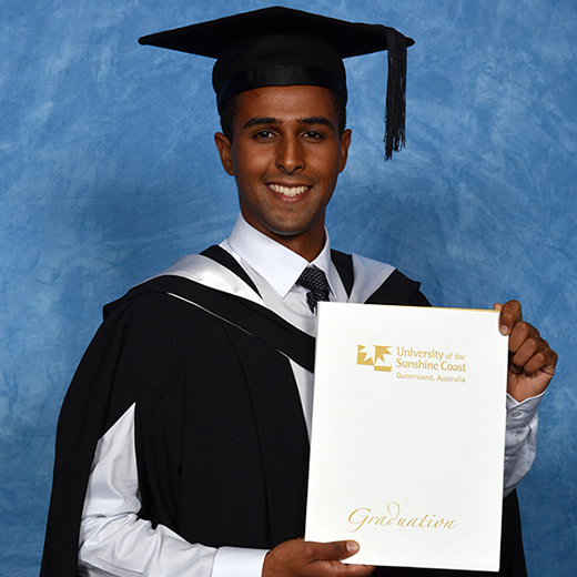 Imran Khan at his graduation ceremony at Matthew Flinders Anglican College Performance Centre, Buderim (credit Silver Rose Photography).