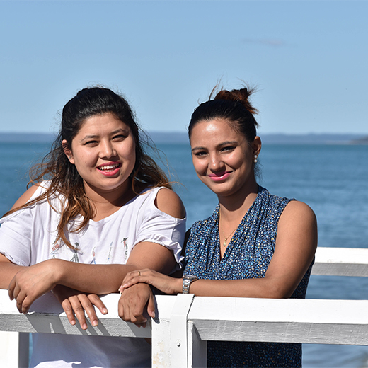 Nepalese nurses Surakshya Mishra, 24, and Rashmi Srimali Dawadi, 22 are studying the Bachelor of Nursing Science at USC's Fraser Coast campus