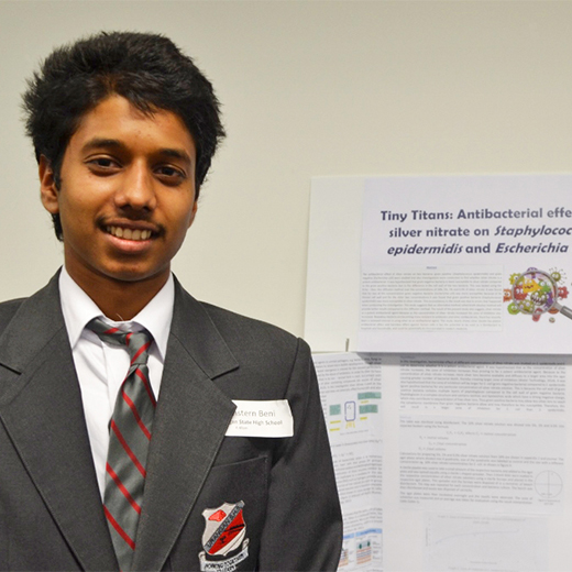 Year 12 Urangan State High School student Winstern Beni was the overall winner at the 2016 Science Research Awards, hosted by the University of the Sunshine Coast.