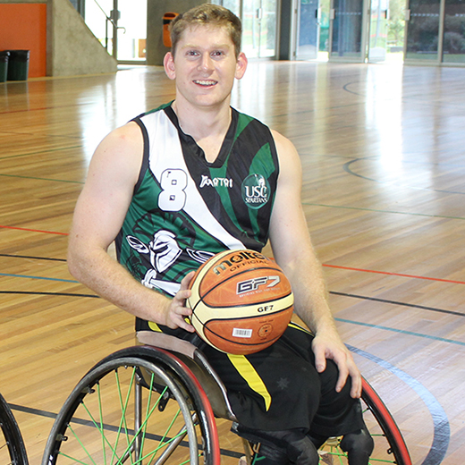 USC Sport Studies student Steven Elliott, who plays in the National Wheelchair Basketball League.