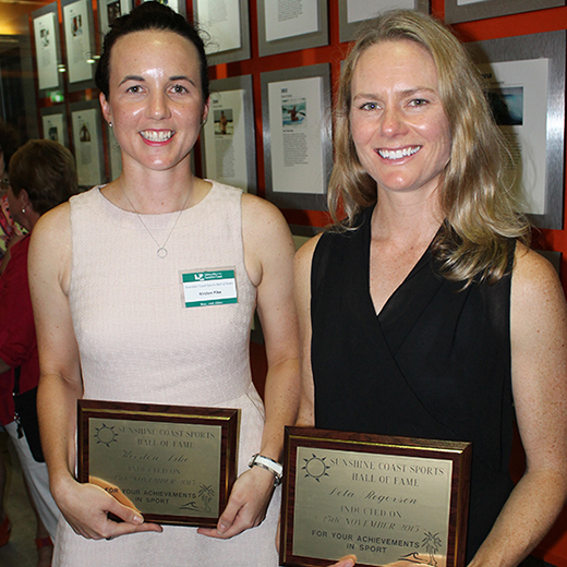 Former Australian Test cricketer Kirsten Pike and former Australian Open Women's Touch representative Peta Rogerson at the Sports Hall of Fame.