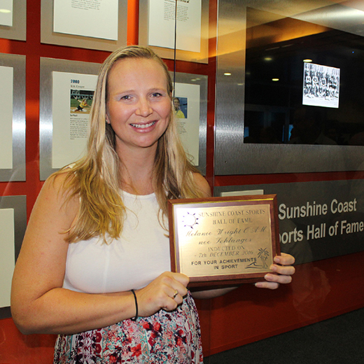 Melanie Wright with her Sunshine Coast Sports Hall of Fame award.