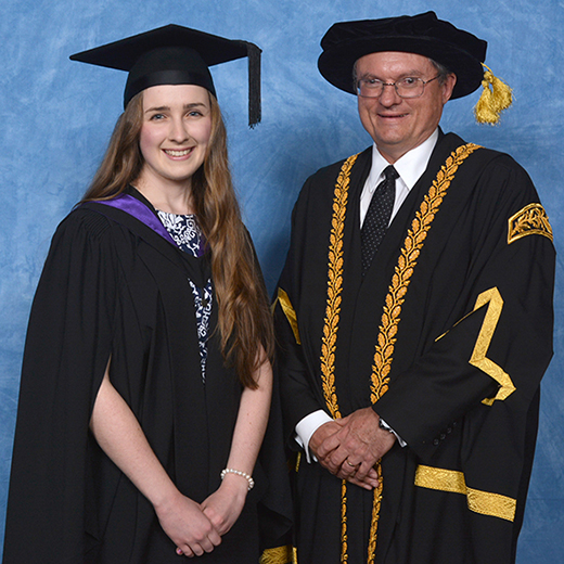Kathryn Hooper, 21, of Woombye with acting chancellor Bruce Cowley. Credit: Silver Rose Photography.