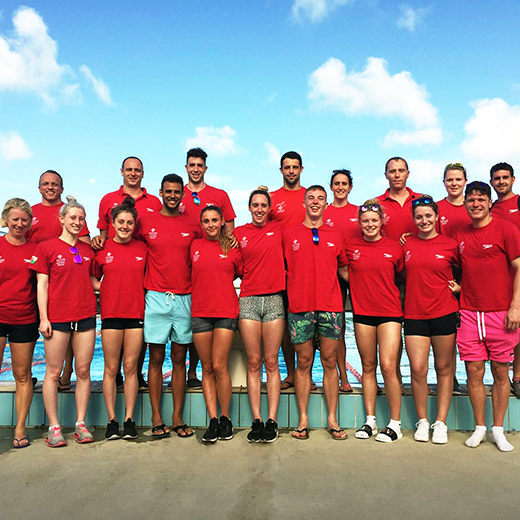 The Welsh national swimming team arriving for a training camp at the USC pool.