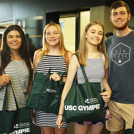 USC Gympie students Chloe Johnston, Emily Allward, Nikki Bath and Nicolas Gerrard