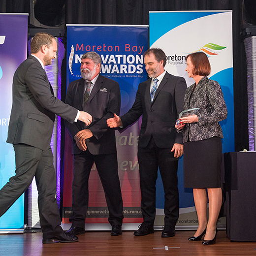 Attollo representative Patrick Sheehan with Moreton Bay Mayor Allan Sutherland, USC's Scott Snyder and Attorney-General Yvette D'Ath.