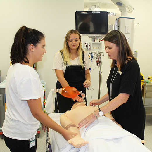 Lecturer in Nursing Leisa Mcneill teaches USC Nursing Science students at the Sunshine Coast Health Institute