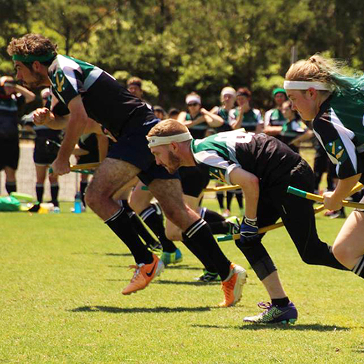 USC Dementors team members competing at a recent tournament (photo credit Ajantha Abey Quidditch Photography).