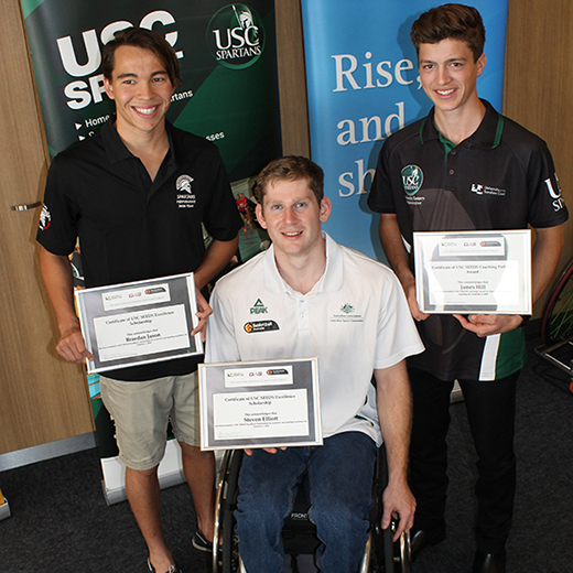 Braedan Jason, Steven Elliott and James Hill at the 2016 SEEDS scholarship presentation.