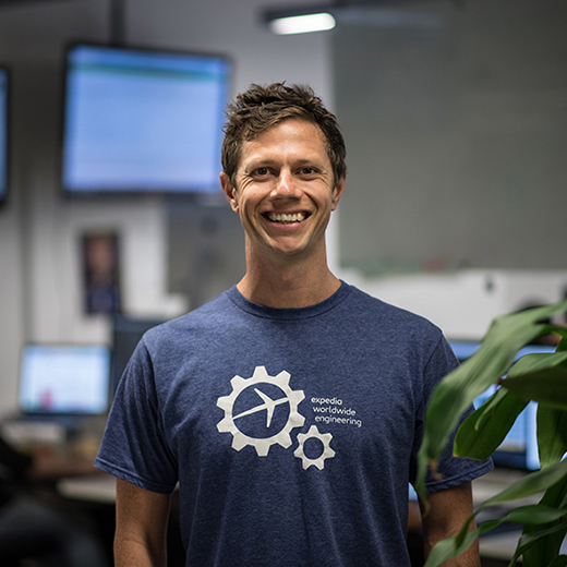 USC Arts graduate Karl Ringrose at the Expedia office in Brisbane.