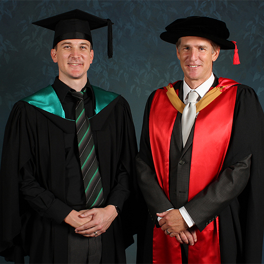 USC Marketing graduate Gareth Francis and Acting Dean of the Faculty of Arts, Business and Law Professor Tim Smith