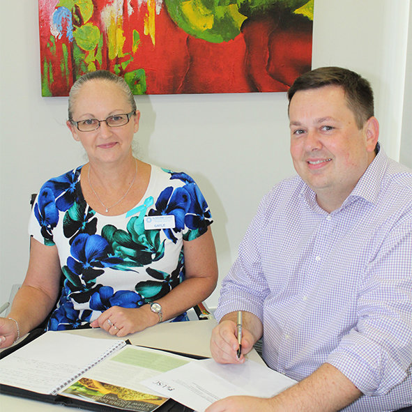 Sunshine Coast Haematology and Oncology Clinic Business Manager Gayle Dowsett and USC Clinical Trials Centre Director Lucas Litewka