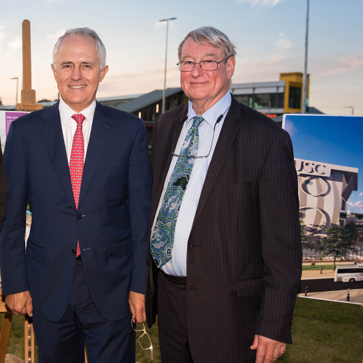 Prime Minister Malcolm Turnbull with Professor Greg Hill at the site of the planned USC Moreton Bay campus