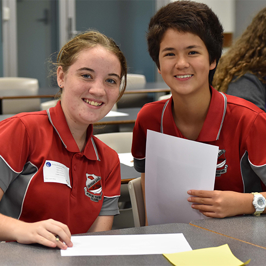 Urangan State High School students Jessica Bailey-Griffin and Emily Hon Fay receive an early taste of university at Experience Day at USC Fraser Coast.