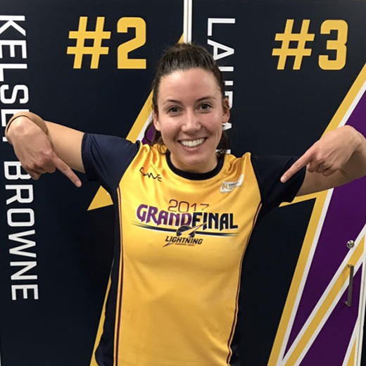 Lightning player Kelsey Browne displays her grand final gear