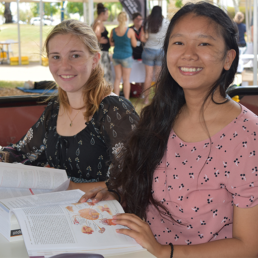 Bachelor of Nursing students Catherine Arellano and Felicity Hill-Russell at USC Fraser Coast