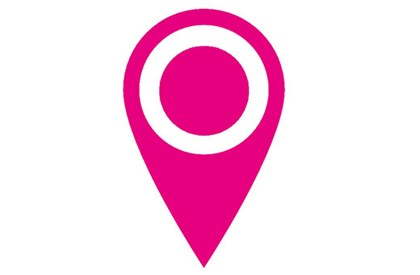 Pink image pointing to location