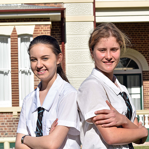Maryborough State High School Year 12 students Brittney Burgess and Ebony Hewitt