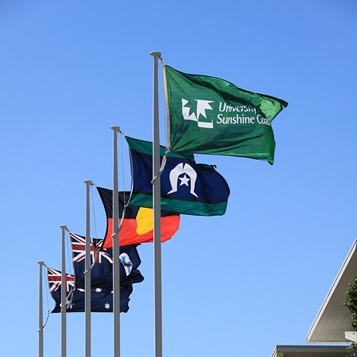 Australian and Indigenous flags flying at USC.
