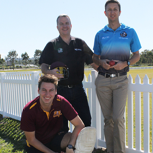 USC-Buderim Cricket Club president Jeff Bradfield, club member and USC student Jake Spannagle (kneeling) and USC Sport Manager Nathan Gordon.