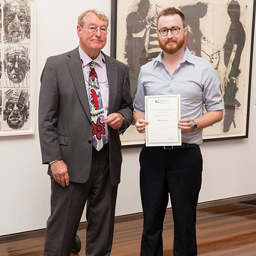 Hugh Hudson receiving a scholarship award from USC Vice-Chancellor Professor Greg Hill earlier this year.
