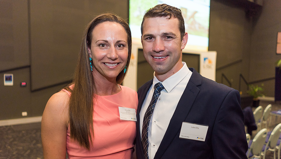 Kristy Ellis and Luke Ellis at the 2017 Outstanding Alumni Awards ceremony