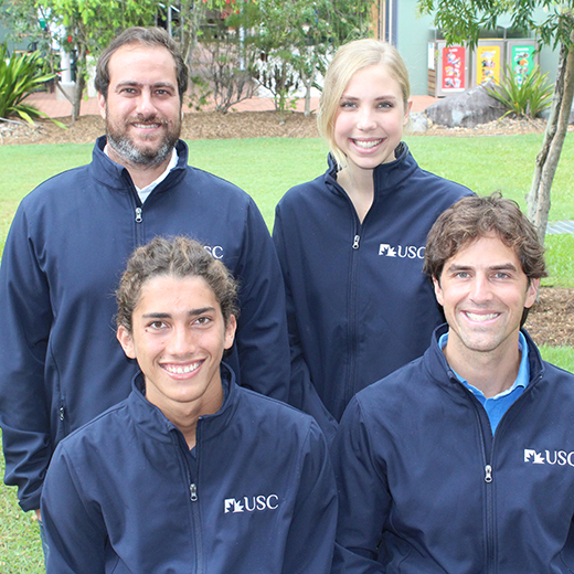Senior Research Fellow Dr Tristan Pearce, front right, with students Miguel van der Velden (front left), Miguel Frohlich (back left) and Erin McPhail (back right).