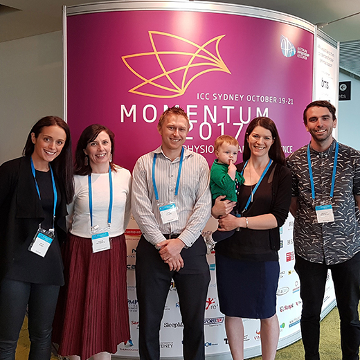 USC PhD students Megan Banky and Sophie Heywood, Senior Research Fellow Ross Clarke and Research Fellows Dr Kelly Bower and Dr Benjamin Mentiplay at the Australian Physiotherapy Association's national conference in Sydney.