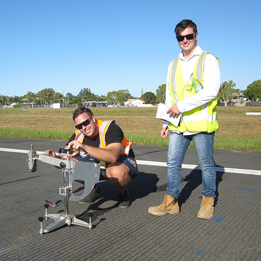 Civil Engineering Honours students Scott Wallace and Fraser McLachlan at Sunshine Coast Airport