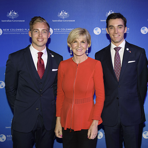Foreign Minister Julie Bishop with USC students Myles Kreis and Michael Jefferies at Parliament House, Canberra.