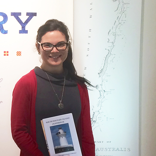 of USC Master of Professional Practice student Bianca Millroy carrying out research for her novel at a Solitary Islands exhibition at Coffs Harbour earlier this year