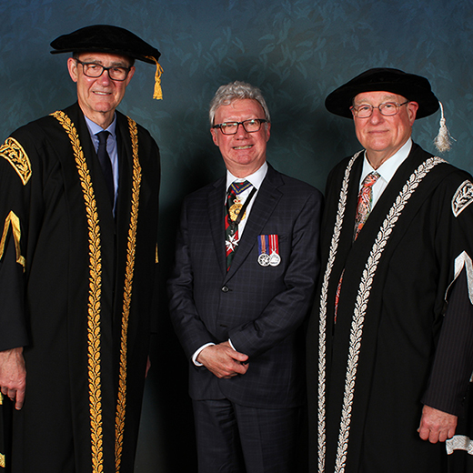 USC's new Chancellor Air Chief Marshal Sir Angus Houston AK, AFC (Ret'd); the Governor of Queensland, Paul de Jersey AC; and USC Vice-Chancellor Professor Greg Hill.