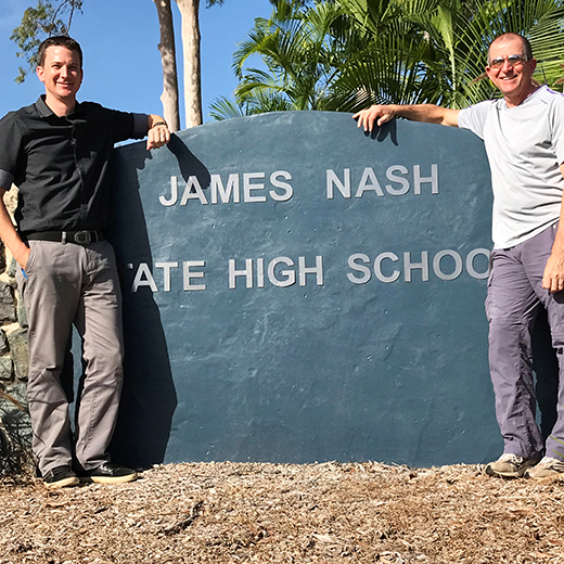 USC graduate Gareth Francis has joined father Shaun Francis as a teacher James Nash High School