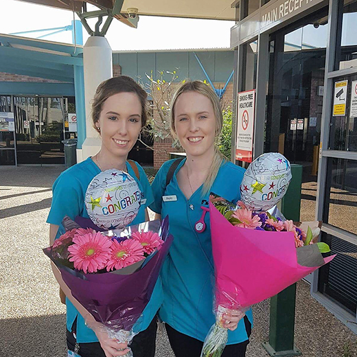 Twins Jemma and Haley Coyne are among the first cohort of Nursing Science students to graduate from USC Fraser Coast