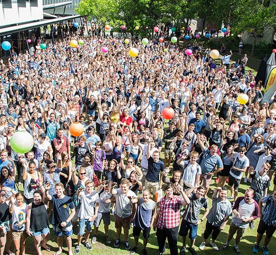 Commencing students pose for a huge photo during Orientation