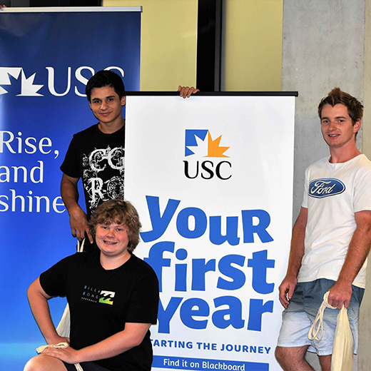 - Students Tyson and Levi Wernowski, Jordan Davis and Giovan Segon join in Orientation activities at USC Gympie.