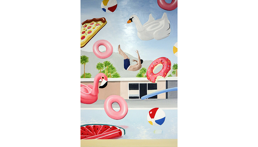 Leon ZHAN; Pool of pleasure 2017; oil on canvas; 152 x 101cm; Courtesy of the artist, St Andrew's Anglican College