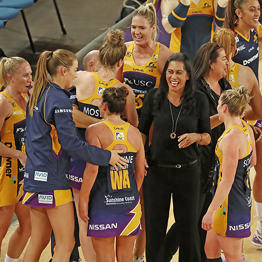 Sunshine Coast Lightning celebrate winning the 2017 grand final