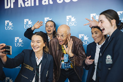 School students with Dr Karl