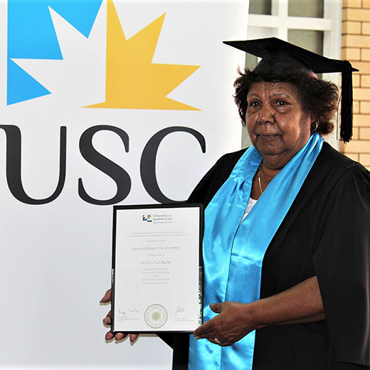 Butculla Elder and community leader from Gympie Lilian Burke had been named an Honorary Senior Fellow of the University of the Sunshine Coast.