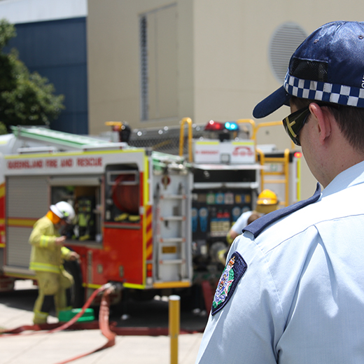 Police and fire crews attend an emergency training exercise at USC
